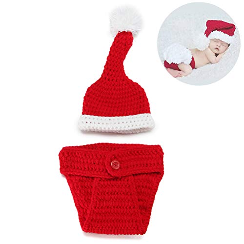 Bozaap Newborn Christmas Beanie Hat Hand-Knitted Winter Warm Christmas Hat Baby Christmas Clothes Photograph Props Hat Shoes Shorts Set