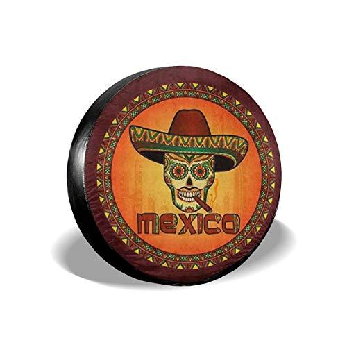 LYMT Spare Tire Cover Hippie Mexicaanse Schedel met Sombrero Hoed met Sigaren Universele Wiel Covers voor Trailer RV SUV 14-17inch