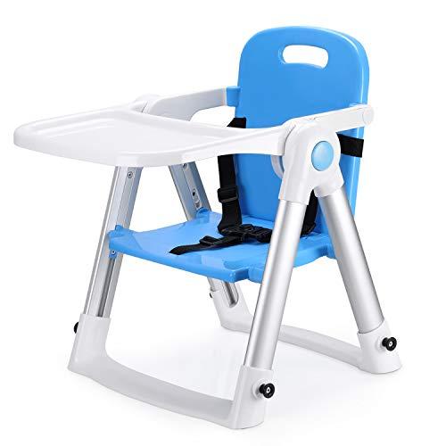 Fascol Hochstuhl und Sitzerhöhung für Babys und Kleinkinder Tragbarer Baby Tischsitz Klappbarer Babysitz für Kinder mit Sicherheitsgurt (Blau-1)