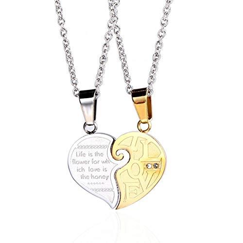 Daesar Colgante Collar Unisex Corazón Puzzle Love Colgantes En Acero Inoxidable Colgante para Unisex Oro