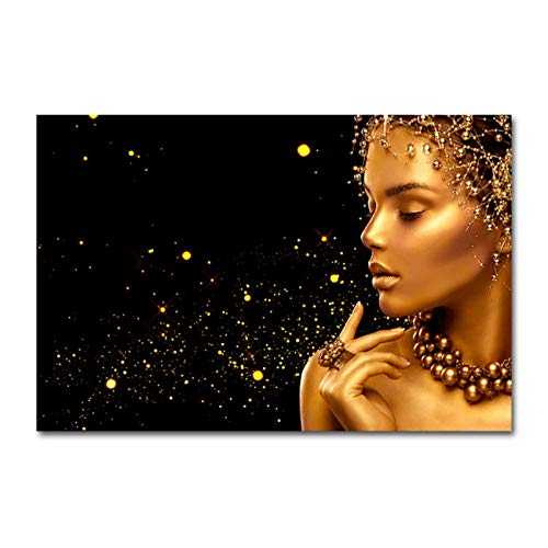 zhengchen Impresión en Lienzo Joyería de Perlas de Moda Mujer de Oro Pintura en Lienzo Carteles e Impresiones Imagen de Arte de Pared Sala de Estar Decoración del hogar 60x90cm / 23.6'x35.4 Sin Marco
