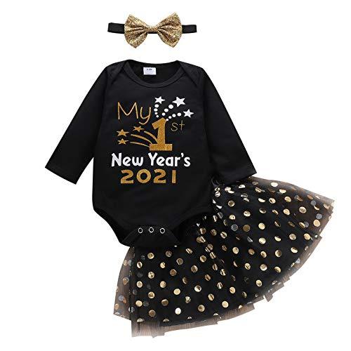 Baby Girl My First New Year 2021 Outfits Weihnachten Langarm Rüschen Strampler + Tüll Tutu Kleid.0-24 Gr. 12-24 Monate, Schwarz