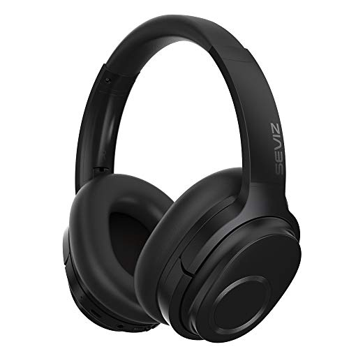 SEVIZ Wireless Bluetooth Headphones, 40 Hours, The Best Sound and Powerful bass, Noise canceling, Ear-Friendly earpads, Foldable, Built-in Microphone, Stereo Headphones 11, Black