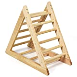 COSTWAY Wooden Climbing Triangle Ladder, Indoor Gym Activity Centre with 3 Difficulty Levels Steps, Stable Triangle Climber Frame for Toddler Baby Children 3 Years Old+