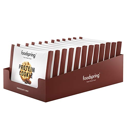foodspring Cookie Proteica, Pepitas de Chocolate, 12 x 50g, textura de...