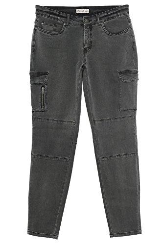 Sheego Jeans Cargojeans Cargo Hose Die Schmale Damen Stretch Plusgröße Übergröße, Farbe:anthrazit, Damengrößen:44