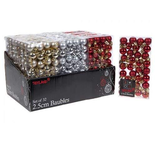 Conjunto de 96 bolas pequeñas para árbol de Navidad (32 rojas, 32 plateadas y...