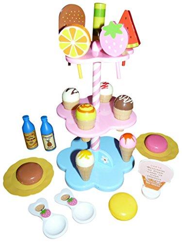A137 Eis-Stand Spielzeug 22 tlg. Set, Eis als Kaufladen-Zubehör für Kinder Geschenk-Idee Weihnacht-en Geburtstags-Geschenk