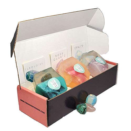 Turquoise Rose Quartz Opalite Vegan Glycerin Gift Soap With Real Crystals Inside Birthday Box Set of 3-4oz