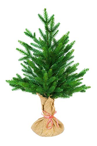 eveXmas Eve Mini Desktop Christmas Tree 1ft 6' / 45cm, 59 branches PE+PVC Tips, Incl. Decorative Stand In Burlap