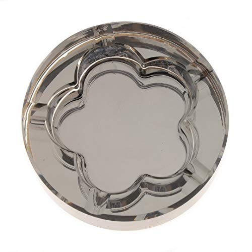 Kepfire Redondo Cristal Vaso Creativo Cenicero Plum Blossom Hole Plata Negro Sencillo Portátil Cenicero Hogar Oficina Café Decorativos