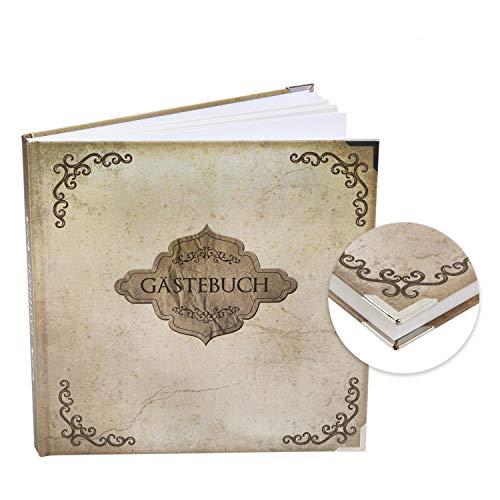 Logbuch-Verlag Vintage Gästebuch braun beige auf alt gemacht rustikal 21 x 21 cm - Buch für Gäste...
