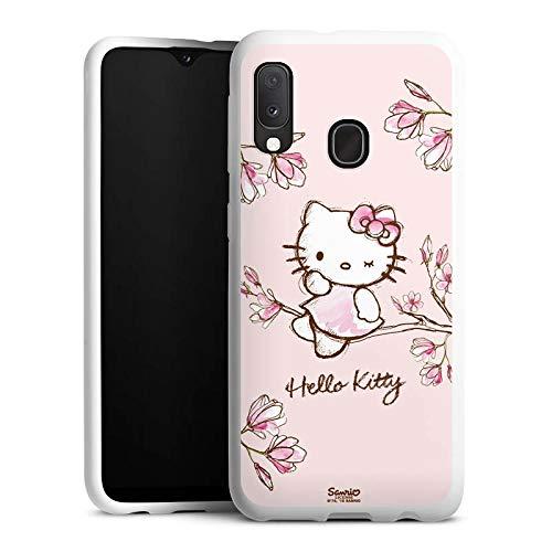 DeinDesign Silikon Hülle kompatibel mit Samsung Galaxy A20e Hülle weiß Handyhülle Hello Kitty Fanartikel Hanami