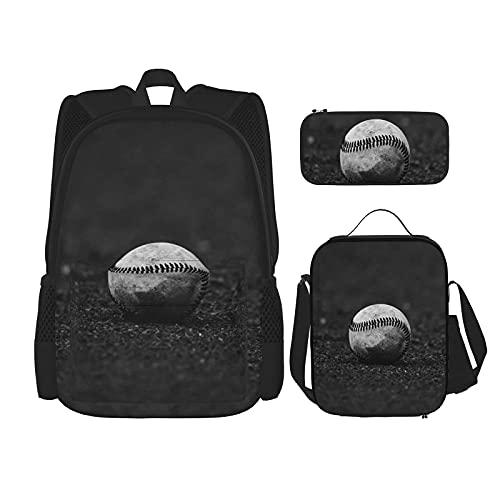 Honkbal Print Rugzak Voor Jongens Tieners Bookbag Reizen Dagrugzak, Lunch Bag En Potlood Case Combinatie