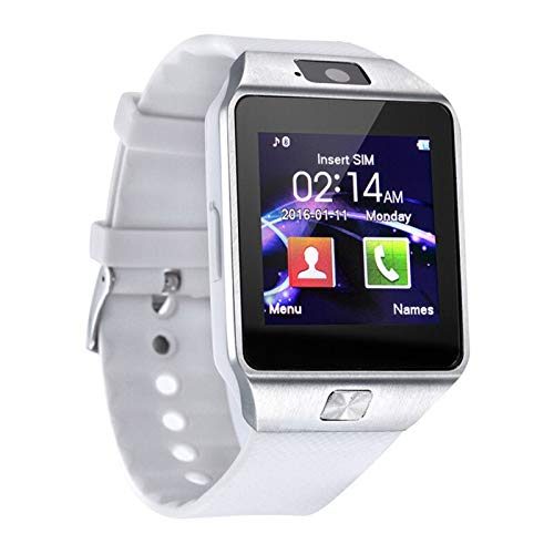 LYB Reloj inteligente digital para hombre para Apple IPhone Samsung Android Teléfono móvil Bluetooth TF tarjeta pulsera cámara (color: blanco)