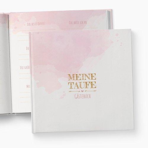 glupspilz   Gästebuch Taufe   Fragen zum Ausfüllen   Aquarell   rosa