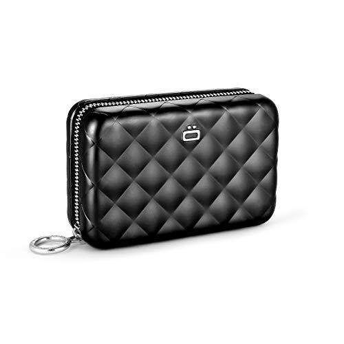 Ögon Smart Wallets - Portefeuille Femme en Aluminium Quilted Zipper - Porte-cartes anti-RFID - Capacité de 24 Cartes, pièces et Billets - Noir