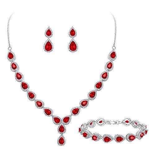 BriLove Wedding Bridal CZ Necklace Bracelet Earrings Jewelry Set for Women Teardrop Infinity Figure 8 Y-Necklace Tennis Bracelet Dangle Earrings Set Ruby Color Silver-Tone July Birthstone
