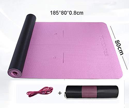 Esterilla de yoga para pilates antideslizantes Anion con extensión de 185 x 80 x 8 mm, posición de la cintura profesional, casa, mujer, hombre, esterilla de fitness, 123, rosa, talla