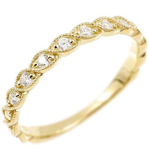 [アトラス]Atrus リング レディース 18金 イエローゴールドk18 ダイヤモンド ミル打ち 指輪 22号