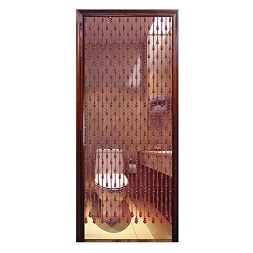Cortina PENGFEI Natural Madera Cuentas De Cortinas para Puerta para El Divisor De Habitación, Pasillo del Armario De La Puerta, Retro Rojo, Ancho 75-90 Cm (Color : 90x176CM-25 Shares)