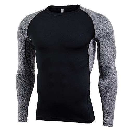 Langarm Fitness Anzug Herren Schnell Trocknend T-Shirt Outdoor Sport Kleidung Gr. XL, schwarz 2