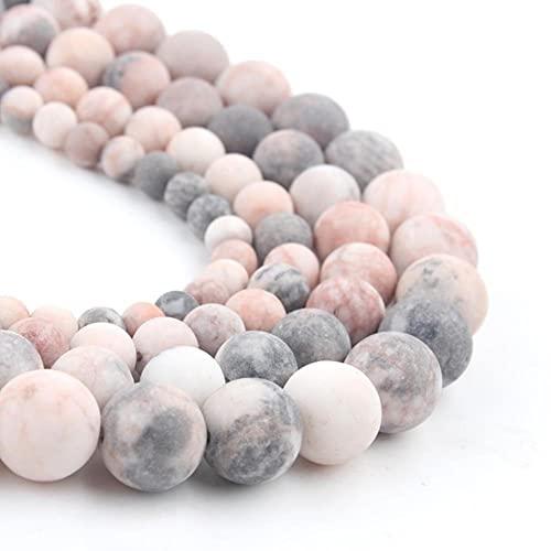 YELVQI Borla Beads de Piedra Natural Mate Apagado Polaco Agata Picasso Howlite Cubiertos de Cuarzo para la joyería Que Hace Bricolaje Pulsera Minerals Bead (Color : Pink Zebra, Size : 8mm 46pcs)