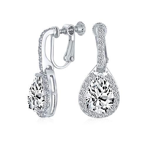 Vintage estilo halo claro cúbica Zirconia AAA CZ moda formal Dangle gota lágrima tornillo de nuevo clip en pendientes para las mujeres prom desfile dama de honor boda plata plateada