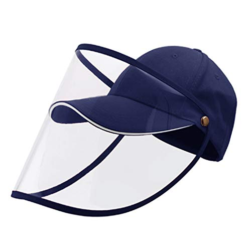 Sicherheit Face Shield Visier Vollgesichtsschutzkappe Im Freien Angeln Caps Baseball-Mütze Anti-Saliva Anti Splash Hat Abdeckung (Blau)
