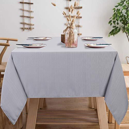 Lintimes Mantel Gris a Prueba de Polvo Decoración de Mesa a Rayas Decoración del hogar de poliéster, 140 cm x 180 cm Rectángulo