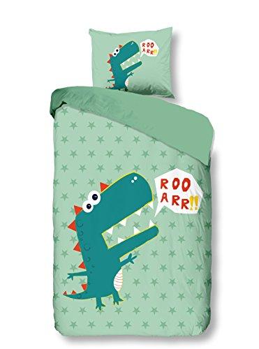 Aminata Kids - Kinder-Dino-Bettwäsche-Set 135-x-200 cm Dino-saurier-Motiv T-Rex Urzeit-Tier 100-% Baumwolle bunt-e hell-Gruen-e