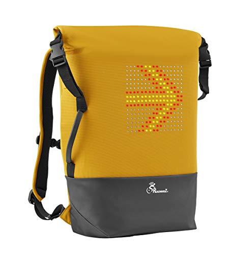 Roadwarez Street Warrior Bluetooth-fähiger Fahrradrucksack – der erste und einzige Fahrrad-Rucksack, der weiß, wohin Sie gehen, mit automatischer Richtungssignale, gelb