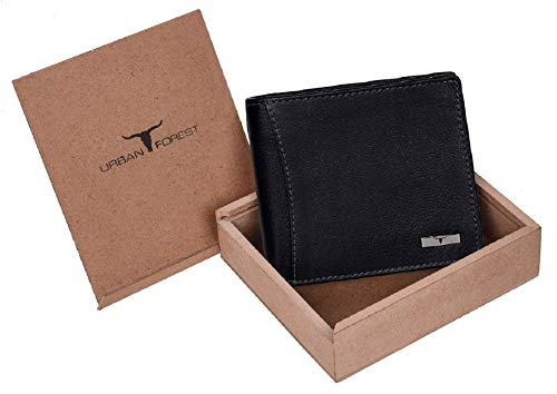 Urban Forest Oliver Black RFID Blocking Leather Wallet for Men - Packed in Premium Wooden Box for Festive Gifting