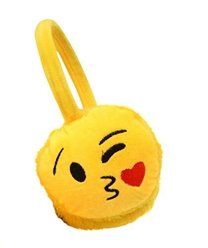 Emoji Fashion Unisex Emoticon Ear Warmers Plush Earmuff and Knit Gloves Sold in Sets or Separately, USA COMPANY (Earmuff & Glove Set, COOL Smile-Sunglasses) (KISSING Blow A Kiss Earmuff)