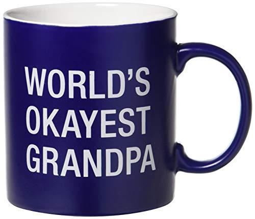 About Face Designs 121824 World's Okayest Grandpa taza de café de cerámica, 20 oz, azul