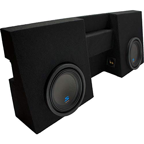 "Compatible with 2005 2006 2007 2008 2009 2010 2011 2012 2013 2014 2015 Toyota Tacoma Double Cab Truck Alpine S-W10D2 Type S Car Audio Subwoofers Custom Dual 10"" Sub Box Enclosure Package"