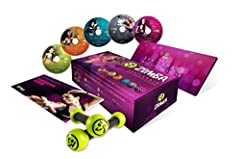 Torch calories at home with a rocking dance fitness party Over 30 dance styles from around the world, including merengue, salsa, reggaeton, calypso, cumbia and hip hop Includes maraca like Zumba Toning Sticks 4 DVD set also includes a bonus 5th DVD –...