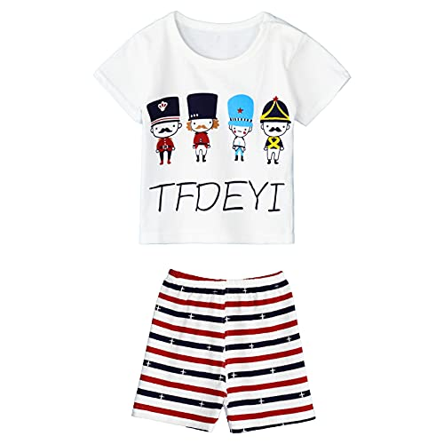 iiniim Baby Jungen Mädchen Kleidung Set Sommer Cartoon Tier Druck T-Shirt Tops mit Shorts Kurze Hosen Baby Pyjamas Freizeitkleidung Jogginganzug Zxb Soldat 104-110