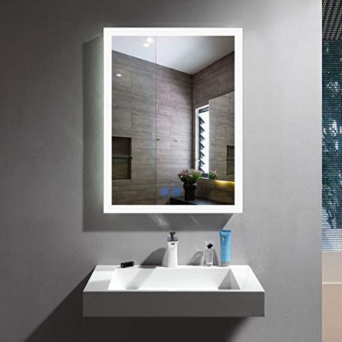 Antifog Dimmable LED Bathroom Mirror, 20x28In Slim Illuminated Mirror with Lights Over -