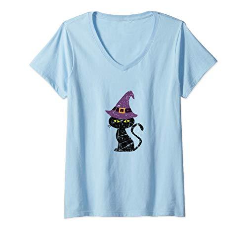 Mujer Sombrero de bruja Amante de los gatos brujos Regalos de Camiseta Cuello V