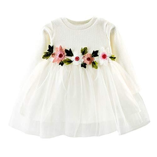 DaMohony Vestido para niña de manga larga, de malla de algodón, vestido de flores, para fiesta, boda, concurso, vestido de princesa, para 0-24 meses