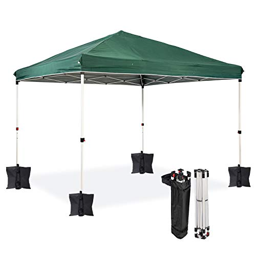 Dawsons Living Waterproof Premium One Touch Garden Gazebo - Choice of Colours - 3m x 3m Heavy Duty Pop Up Outdoor Garden Shelter - PVC Coated - Travel Bag and 4 Leg Weight Bags - (Green)