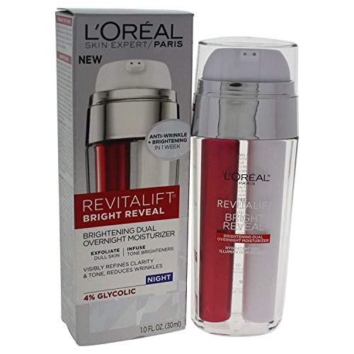 Night Moisturizer, LOreal Paris Revitalift Bright Reveal Dual Overnight Moisturizer to Exfoliate Dull Skin, Reduce Wrinkles, Diminish Look of Dark Spot and Visibly Refine Tone and Clarity, 1 fl. oz.