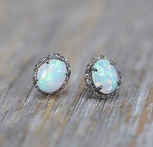 Genuine Opal Gemstone Diamond Halo Oval Stud Earring- Sterling- Mother's Day Gift idea
