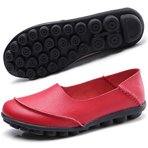 Hishoes Damen Mokassin Bootsschuhe Leder Loafers Fahren Flache Schuhe Halbschuhe Slippers Erbsenschuhe , Rot, 44 EU