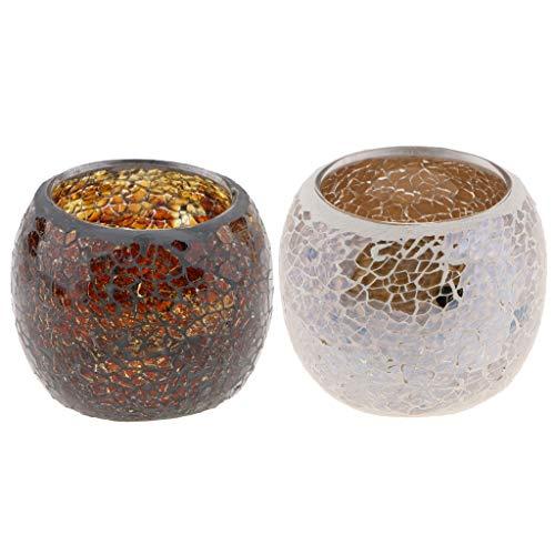 Homyl 2pcs Bougeoir Bougie Chandelier Style Marocain Mosaique Bougie Chauffe-Plat