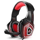 QCSMegy Cuffie Cuffia, Stereo Bass Gioco Gaming Headset, for for PS4 Gioco PC con Il, Montato sulla Testa RGB Colorato Auricolare Cablata con Frumento (Rosso/Blu) (Color : Red)