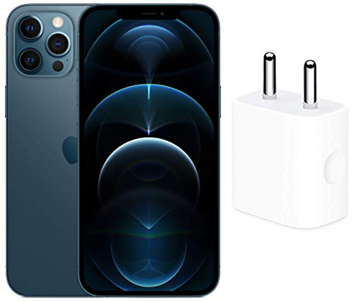 New Apple iPhone 12 Pro Max (512GB) – Pacific Blue with Apple 20W USB-C Power Adapter