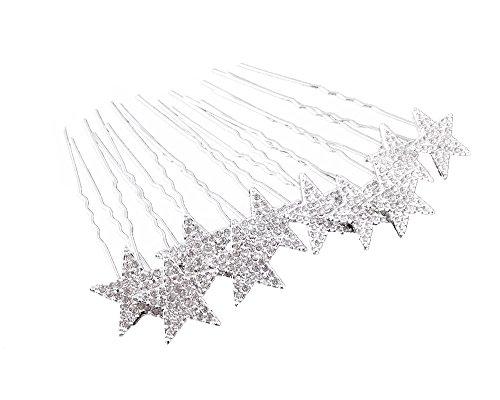 yueton 10pcs Bling Rhinestone Star Wedding Bridal Crystal Hair Pins Clips Women Headwear Hair Accessories