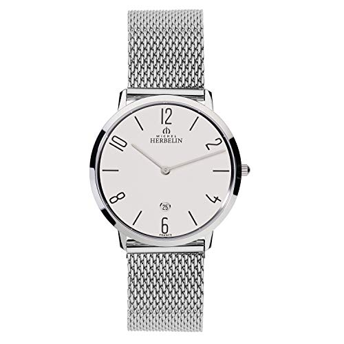 Michel Herbelin Herren Analog Quarz Uhr mit Edelstahl Armband 19515/21B